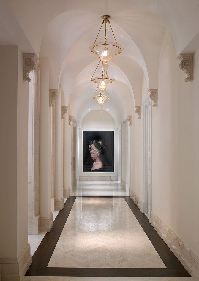Mediterranean Hallway With Pendant Light Amp High Ceiling