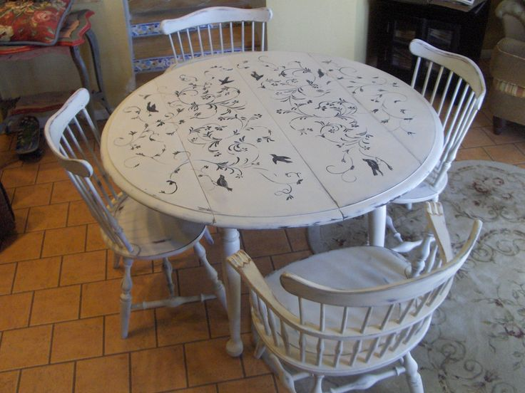 Chabby Chic Hand Painted Dining Table And Chairs 1 Via Etsy .