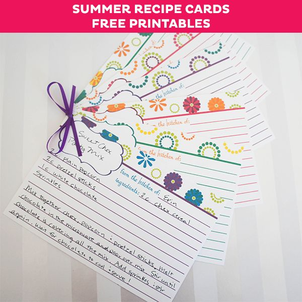 FREE Summer Recipe Card Printables - cute recipe cards for your favorite summer recipes.