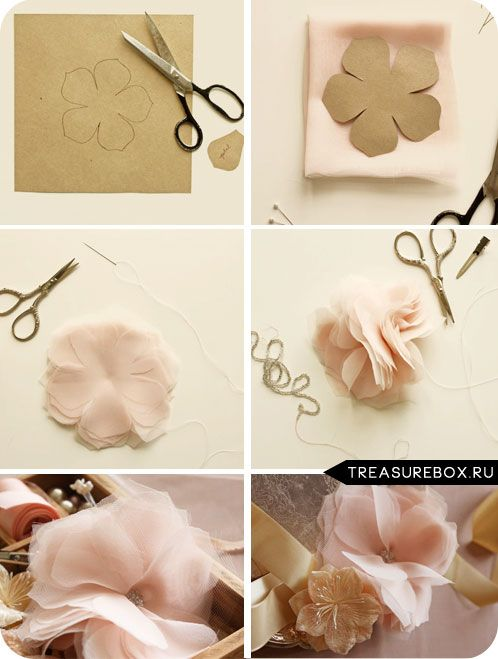 Как сделать своими руками цветочки из ткани 68
