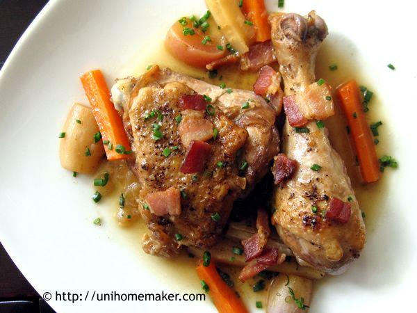 Braised Chicken with Root Vegetables #recipe #chicken #rootvegetables