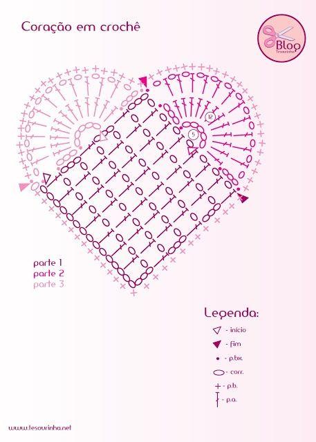 Вязание валентинок крючком схемы 20