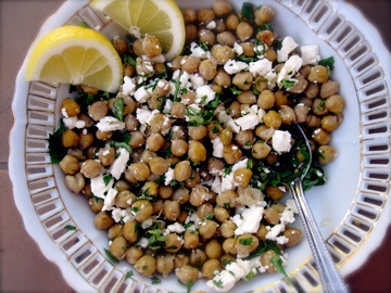 Garlicky Roasted Chickpea Salad with Feta, Herbs, and Lemon