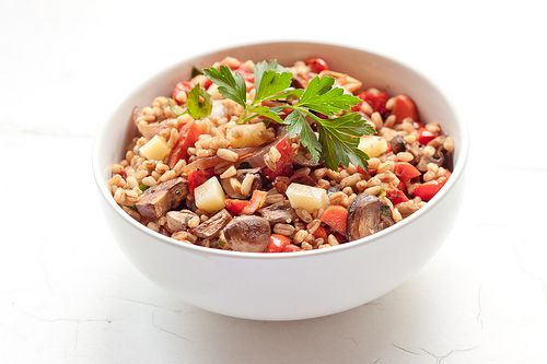 Farro Salad with Roasted Vegetables and Fontina