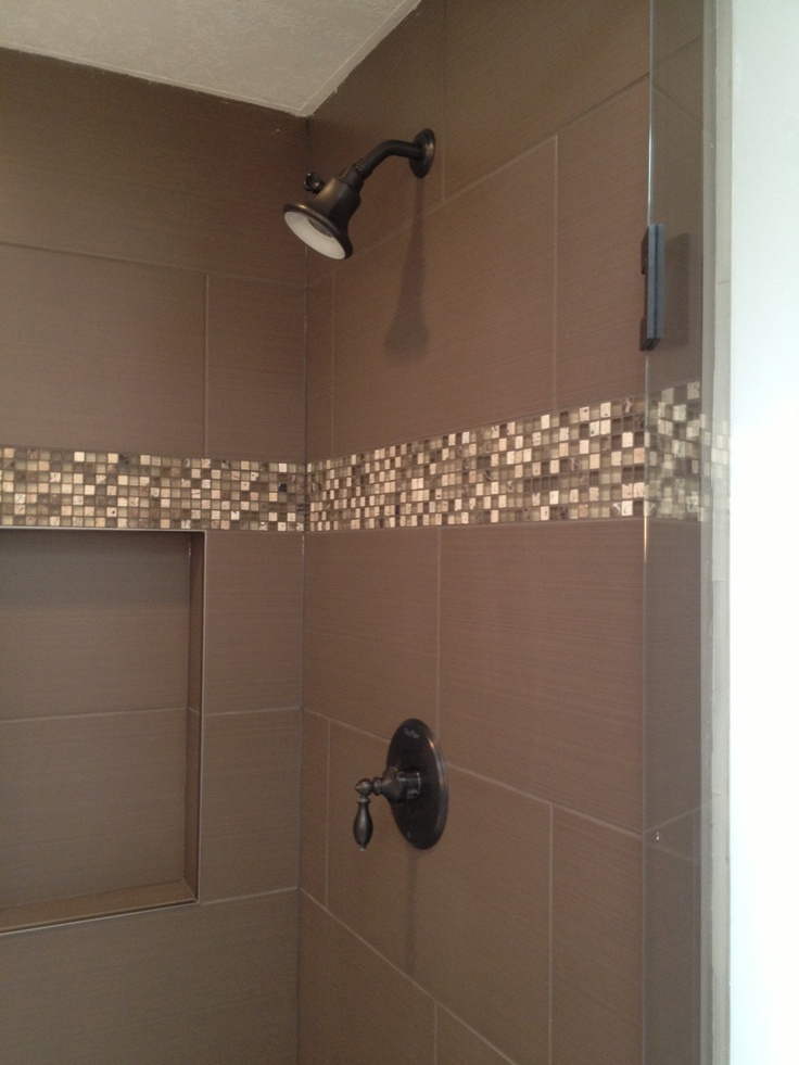 Shower with mosaic tile accent   home renovations   Pinterest