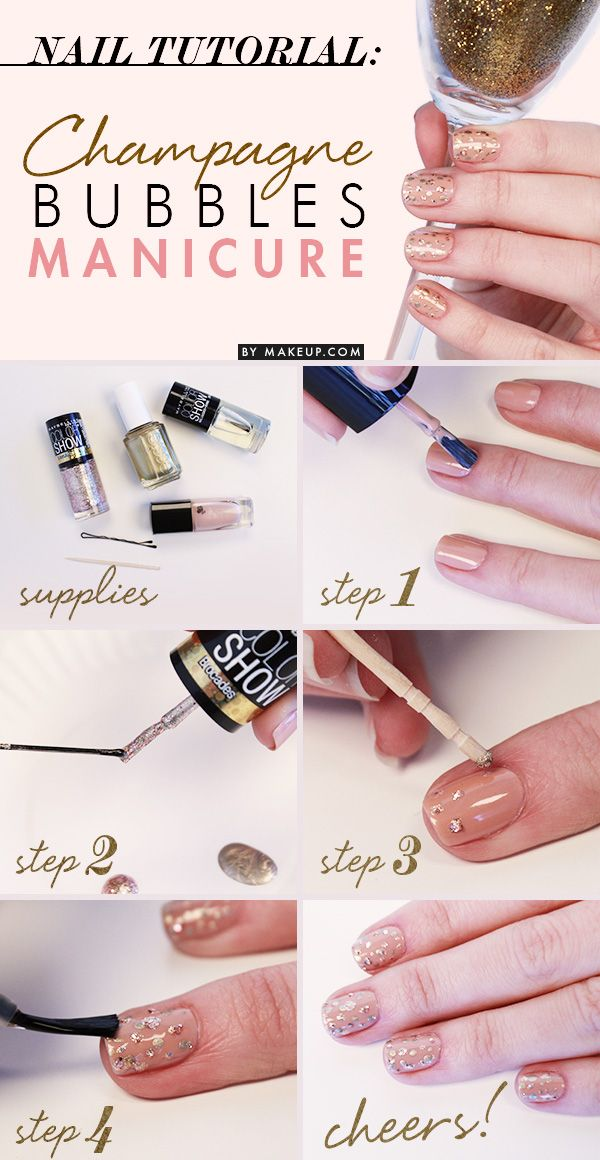 Getting ready to celebrate something special? Try out this adorable champagne bubbles nail art manicure!