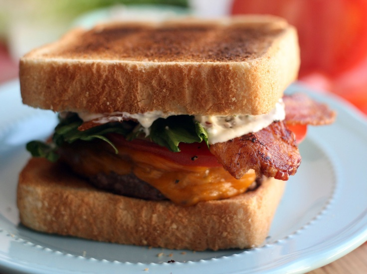 BLT Burger with Bacon Mayonnaise from CookingChannelTV.com