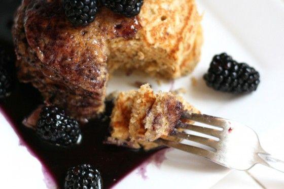 Whole Grain Oatmeal Pancake Mix + Blueberry Maple Syrup= Yum!!