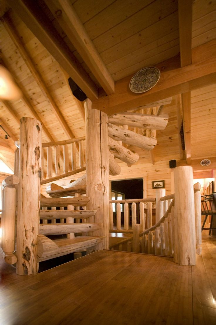 Best Custom Half Log Spiral Staircase With Hand Scraped Wood 400 x 300