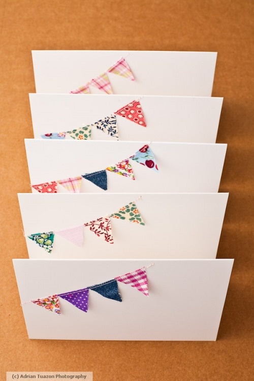 Mini bunting cards #bunting #cards #invitations #scraps #business cards w map/details/info on inside w invitation to stop in
