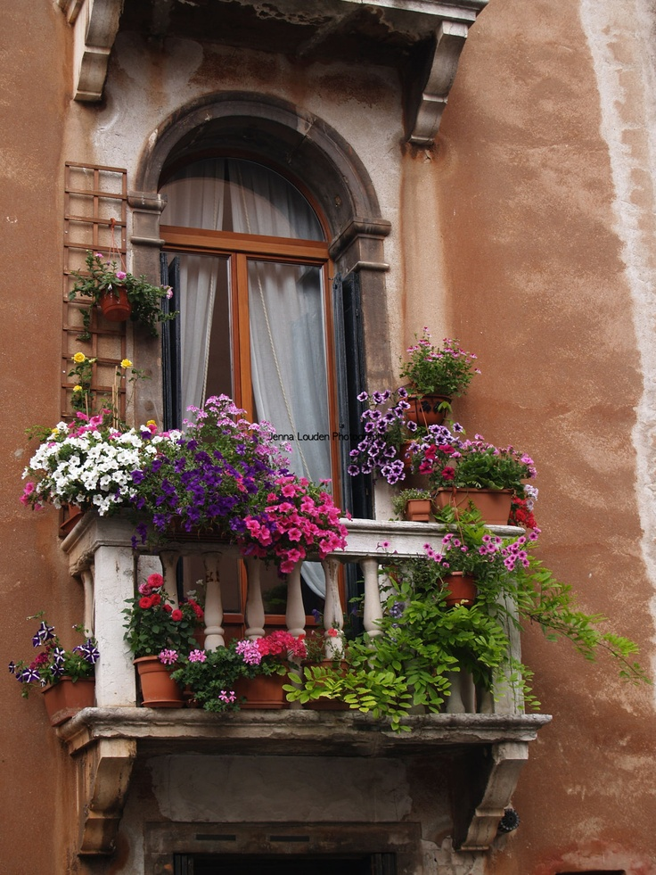 Balcony garden in venice italy europe pinterest for Balcony flowers