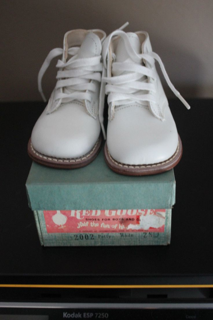 Red Goose White Baby Walking Shoes Classic High Top 1950 s