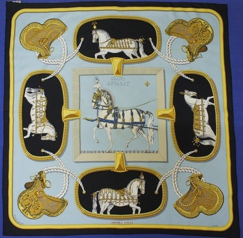 Authentic hermes grand apparat by jacques eudel square scarf 100% silk