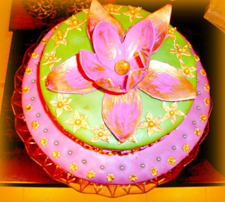 Cake With Lotus Flowers