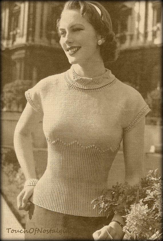1940s SWEATER Knitting Pattern Vintage WW2 Era Lovely ...