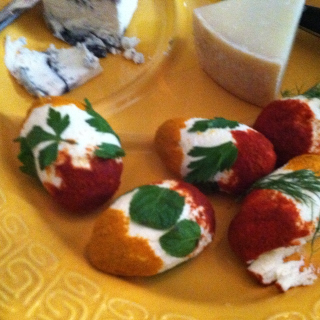 "... goat cheese Easter eggs, ""dyed"" with turmeric, paprika, and fresh"