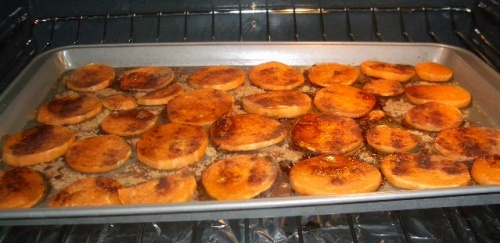Sweet Potato Rounds with Butter, Brown Sugar, and Cinnamon