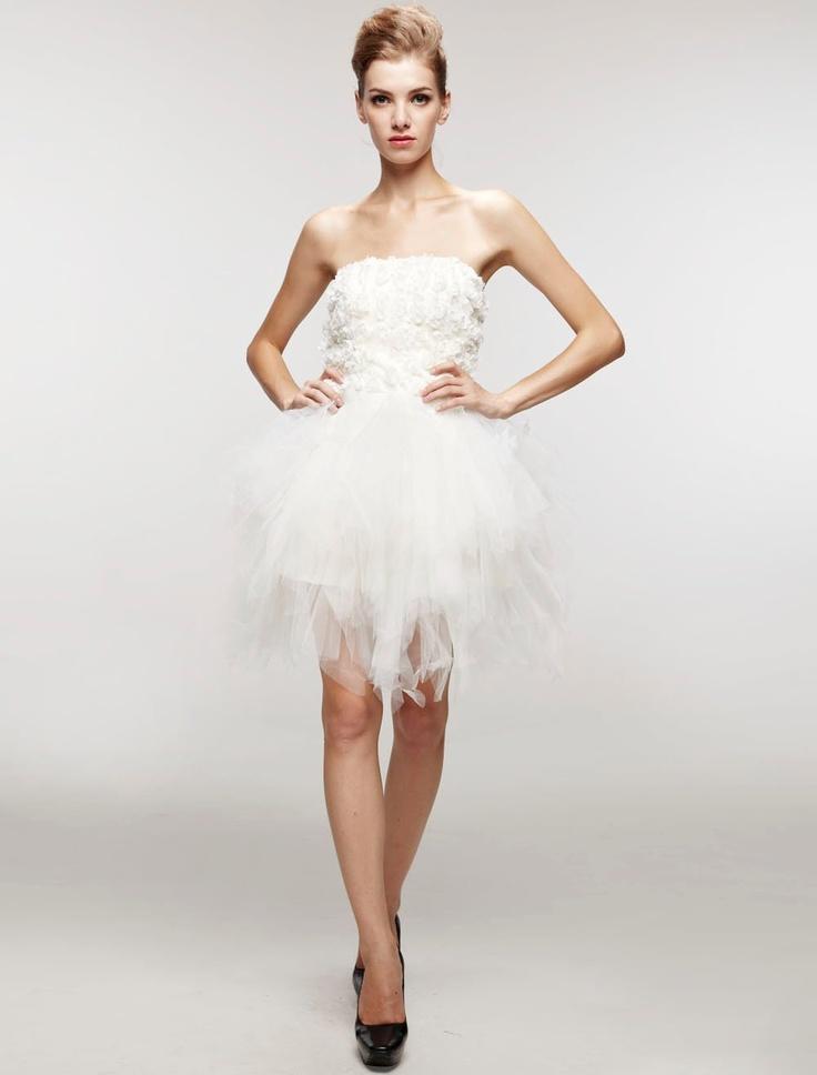 Robe de mariée courte et blanche de livraison rapide en gaze ...