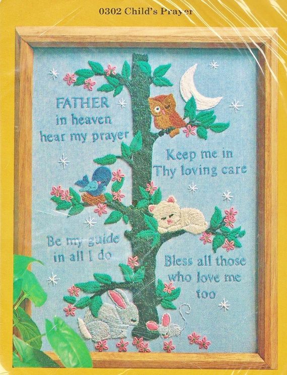 ... SEALED Child's Prayer Crewel by viciousvintagechic on Etsy, $8.95