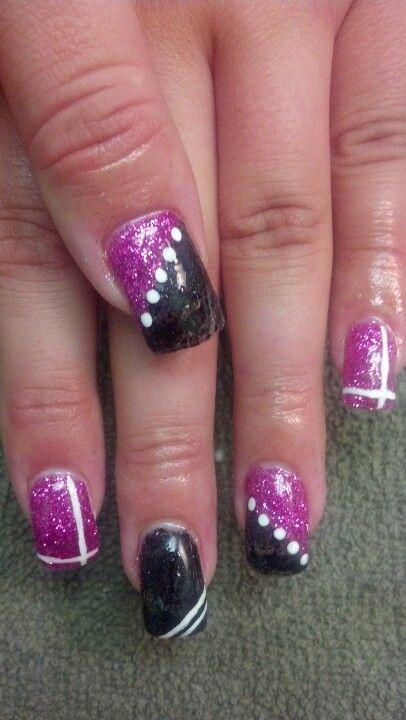 Gel nails-pink and black | Nails | Pinterest