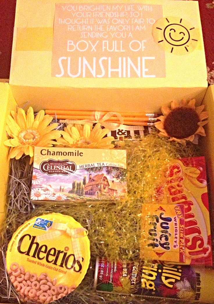 Box of sunshine to cheer someone's day up. College care packages ☀☺@Anila Cardyn Cardyn Punjwani