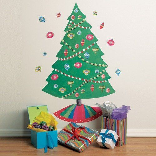 Wallies christmas tree vinyl holiday wall mural set of 2 for Christmas tree mural