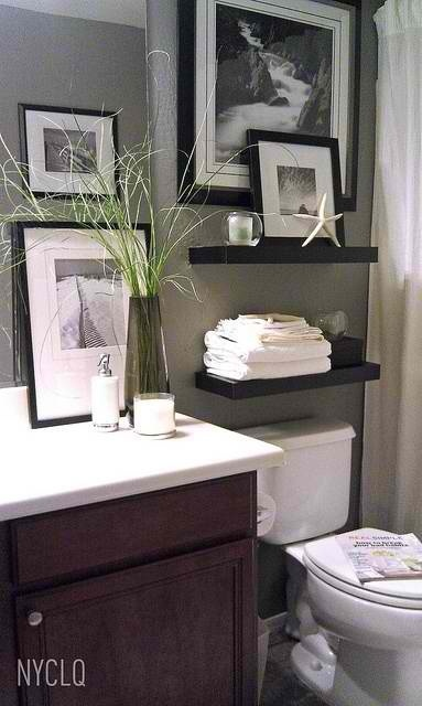 floating shelves and frame above toilet home is where the heart is. Black Bedroom Furniture Sets. Home Design Ideas