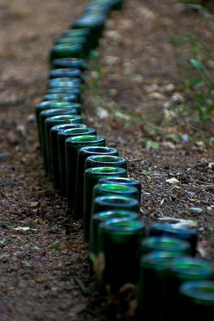 beer bottle garden edging reduce reuse recycle