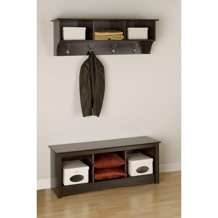 prepac fremont espresso entryway cubbie shelf and coat. Black Bedroom Furniture Sets. Home Design Ideas