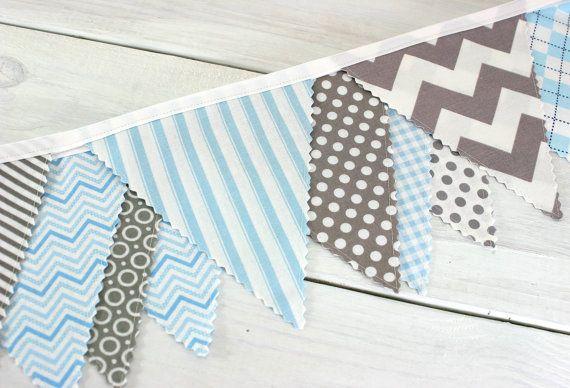 Bunting fabric banner fabric flags boy nursery decor for Boy nursery fabric