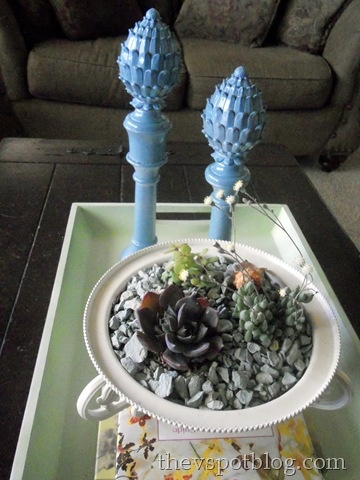 curtain finial, votive cup, candle stick and spray paint