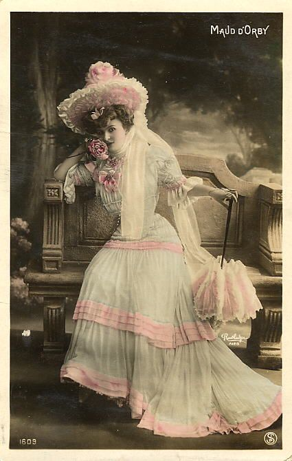 Tinted Photo Postcard of Maud D'Orby, French Opera Singer. Photo by Reutlinger.