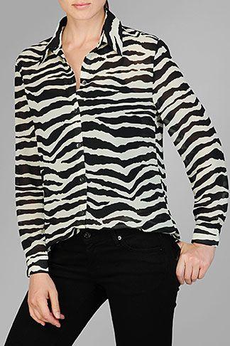 Zebra Print Sheer Blouse 4