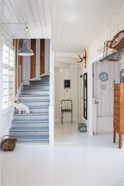 white wood painted stairs   Stairs Staircase Basement ...