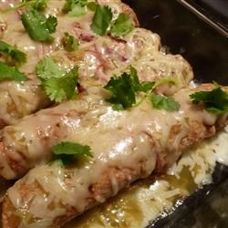 Easy Green Chile Chicken Enchiladas, Mexican food, recipe