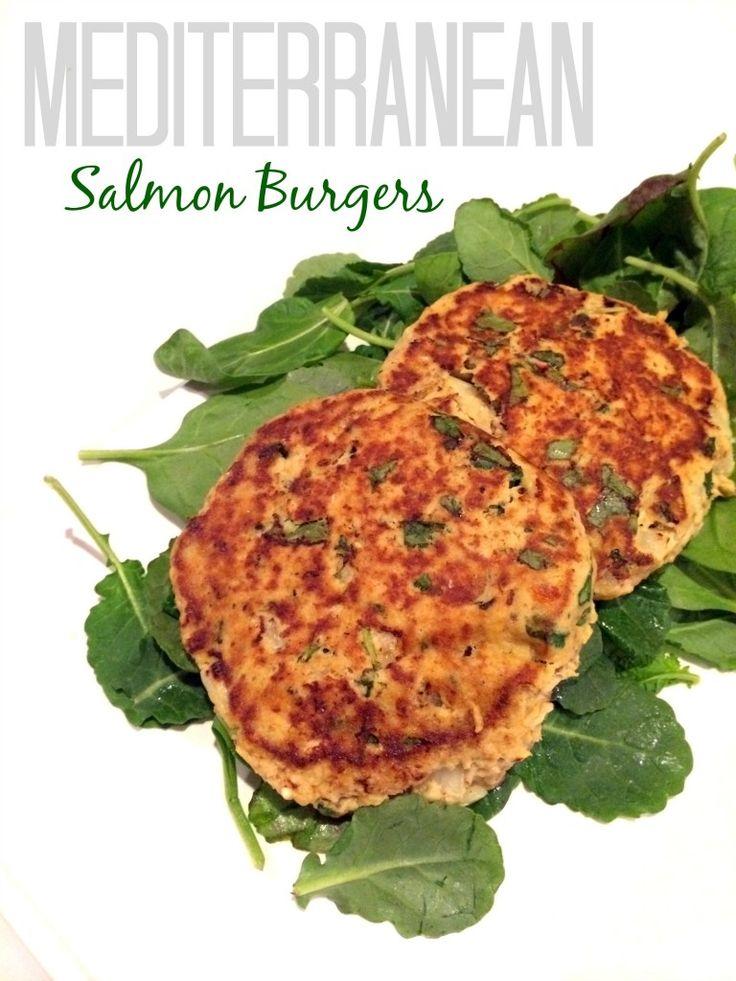 Mediterranean Salmon Burgers - with spinach, red pepper hummus, feta ...