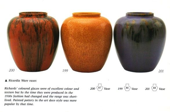 Ricardia Ware produced by Richards Tiles in Stoke-on-Trent  The glaze is, or is  very like, one of the Richards Tiles' pre-war WM (wall mottle) glaze series.  Those glazes contained oxides of lead which gave them certain flow and appearance characteristics.  The use of lead oxides in glazes was banned after1947 because of their causation of lead poisoning of operatives.  Lead  bisilicate was substituted but it was not possible to get the same results.