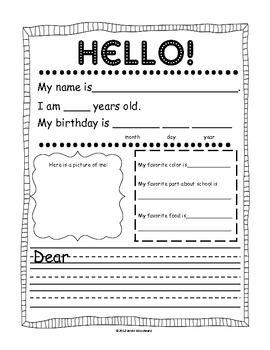 Free- Pen Pal  Friendly Letter Template