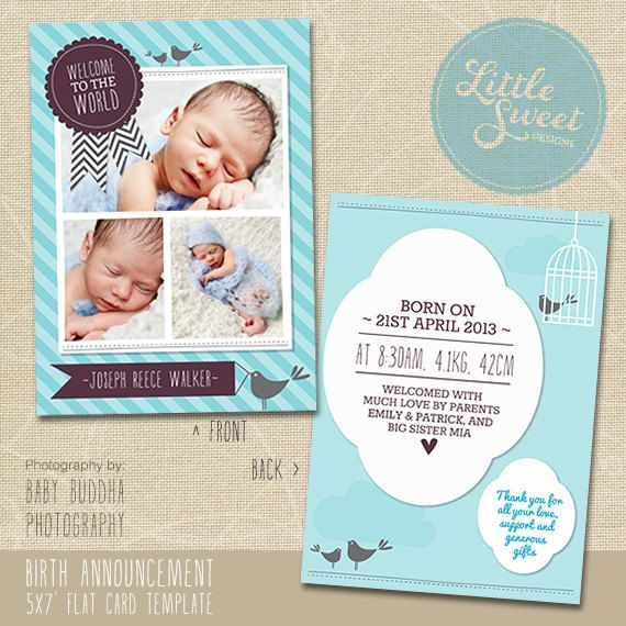 5x7 Birth Announcement Template (Baby Announcement) - Photoshop Templ ...