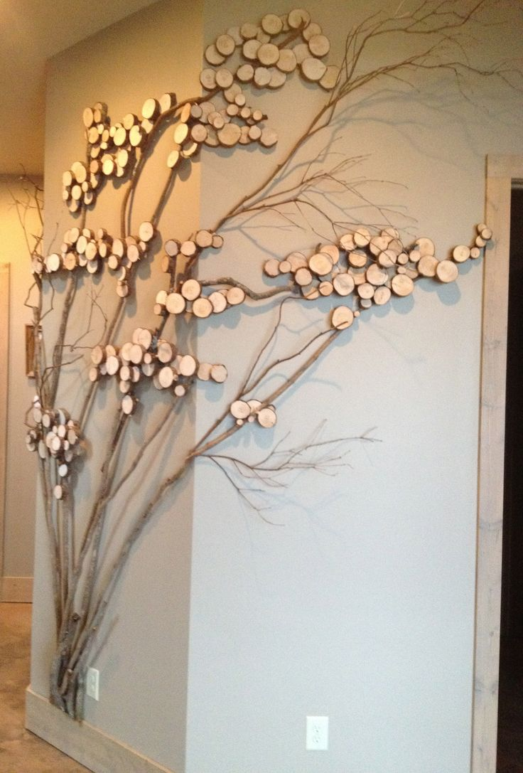 Refining  tree art, twig art for wall decor, wall art with mountain laurel twigs, wood slices