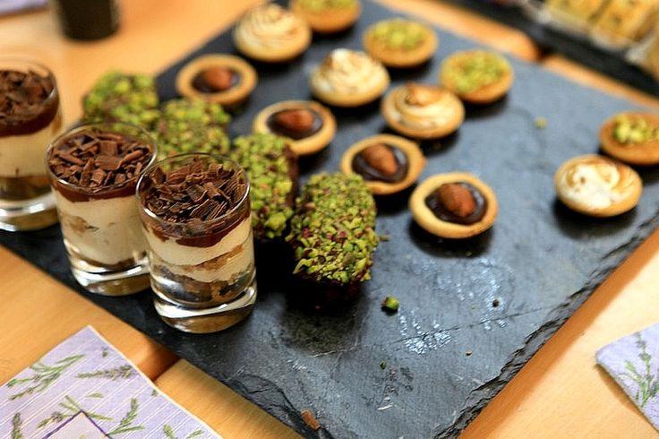 parfaits, chocolate ganache tartlets with glazed almonds, chocolate ...