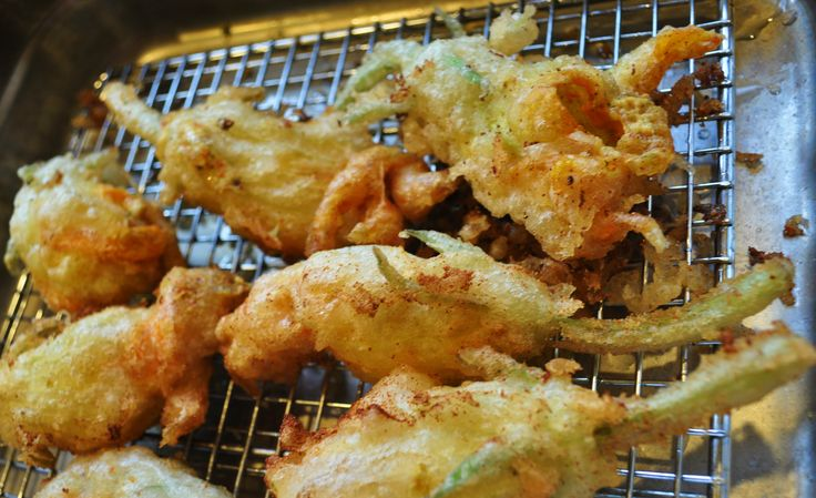 Goat cheese stuffed fried squash blossoms!