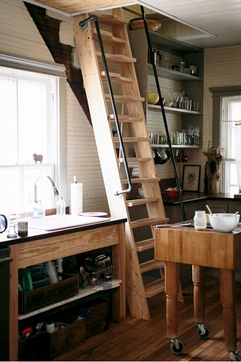 Pin by crystal hart on small space tiny house little living pinterest - Attic stairs for small spaces style ...