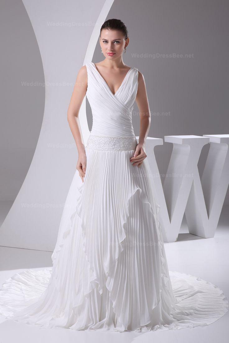 V-neck pleated chiffon beach wedding dress with court train