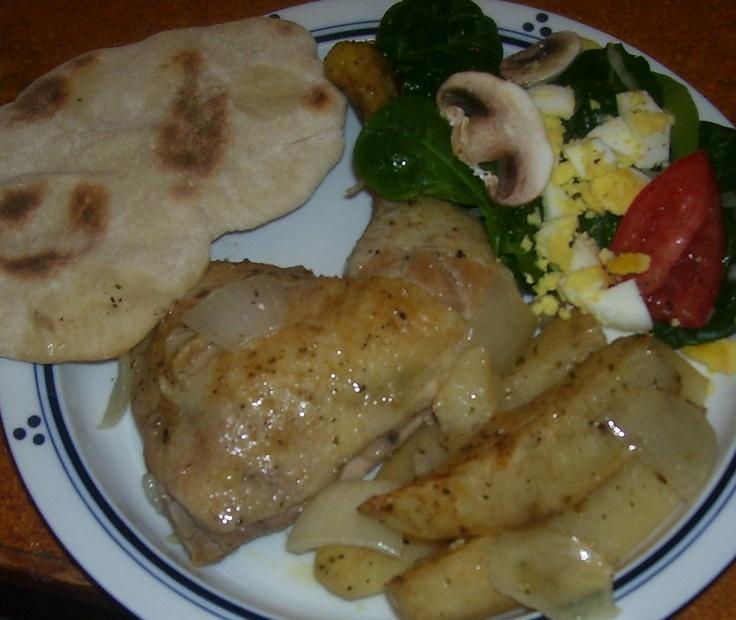 ... style lemon-garlic chicken & potatoes, spinach salad, homemade pita