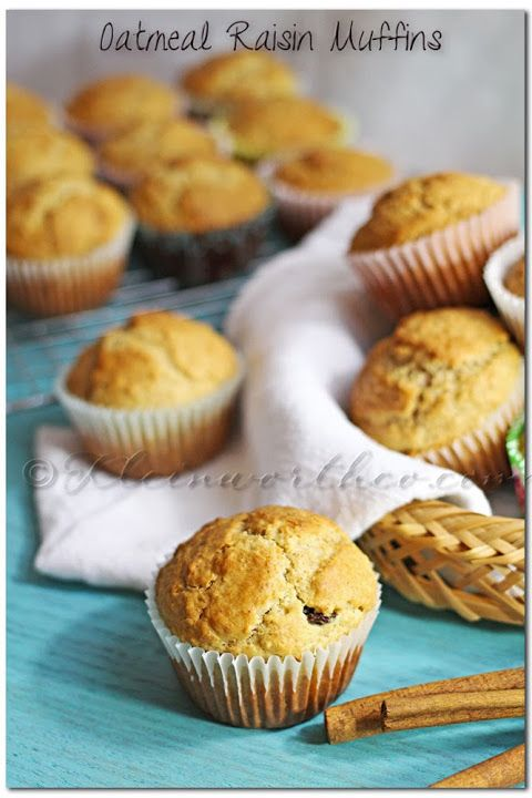 Muffins (Made with LACTAID) ~ They taste like an oatmeal raisin cookie ...