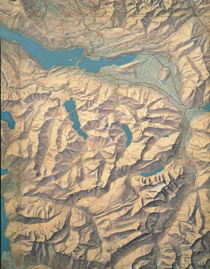 || Section of a hand illustrated map of the Canton of Zurich by the father of Hillshading, Eduard Imhof, 1934.
