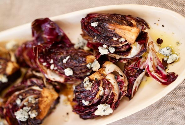 Grilled Radicchio Salad with Gorgonzola and Balsamic Vinaigrette