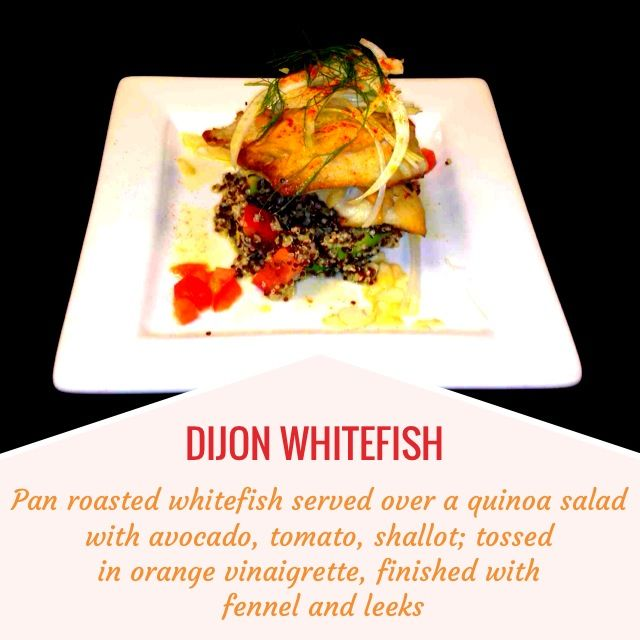 Pan roasted whitefish served over a quinoa salad with avocado, tomato ...