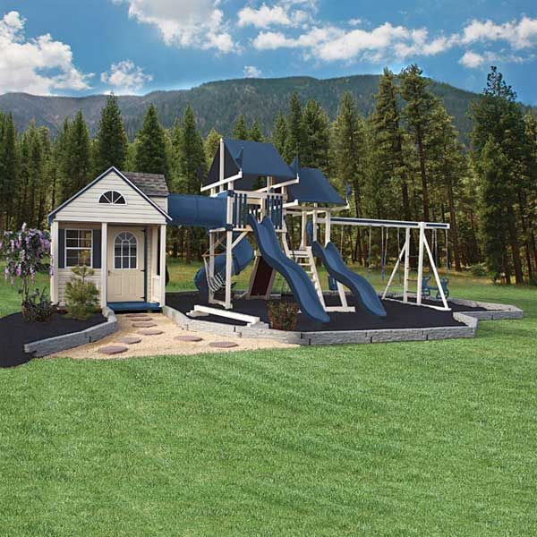 Pin by jenna connell on outdoor play space ideas pinterest for Build a swing set playhouse